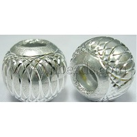 Aluminum Beads,  Round,  Silver,  12mm,  hole: about 6mm