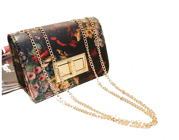 2013 women's spring handbag vintage oil painting chain bag mini one shoulder cross-body small bags female(China (Mainland))