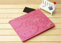 Double Butterfly Screen Guard Stand Cute luxury Hello Kitty Smart Leather Cover Case for iPad mini ,Free Shipping