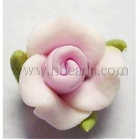 Handmade Polymer Clay Beads,  Flower,  Pink,  8x7mm,  hole: about 1mm