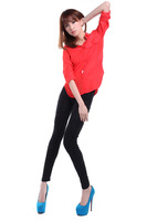 FREE SHIPPING 2013 ladies newest design black fashion pants casual lace pants pleated high quality cotton pants  4096  L429
