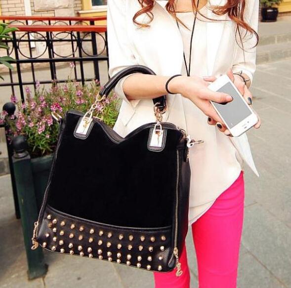 Cheap Products new rivet package stitching flannel bag shoulder bag brand Rivet Studded Messenger Bag B069(China (Mainland))
