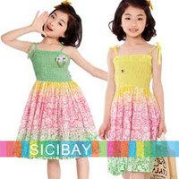 new Fashion Bohemian Style baby girl dresses kids flower bow design child sleeveless clothes teenage girls dress K0472