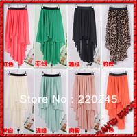 2014 Free Shipping Women's Fashion Sexy Elegant Asymmetric Chiffon Long Skirts.