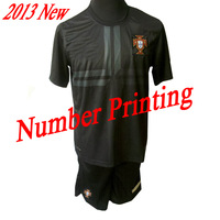 MOQ 10sets customized printing high quality soccer jersey soccer uniforms 2013 Portugal away soccer shirt