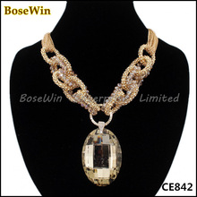 Exaggerated Fashion Gold Lots Chains Rhinestone Big Oval Glass Crystal Pendant Necklaces,Gold/Gun Black Colors CE842(China (Mainland))