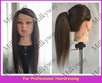 Milkyway 18inch 90% dark brown human hair mannequin head for training use model head female hairdressing styling training head