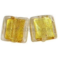 Handmade Silver Foil Glass Beads,  Square,  Golden,  about 12mm wide,  12mm long,  hole: 2mm