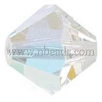 Czech Glass Beads,  Faceted,  Bicone,  Crystal,  AB Color,  8mm in diameter,  hole: 1mm; 144pcs/bag