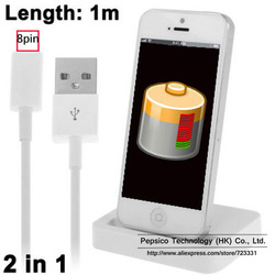 Dock Charger 2 in 1 Kit (Base Dock Charger + 8 Pin USB Sync Data / Charging Cable) for iPhone 5, iPad mini, iTouch 5(China (Mainland))