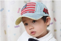 children cowboy embroidered flags  baseball cap /kids denim sun baseball hats/ child summer hat Hats & Caps unisex