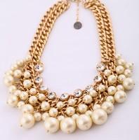 COL030 2014 New Wholesale Elegant Lady multilayer big heavy Cultured Pearl shorts Necklaces maxi colar acessorios atacado joyas