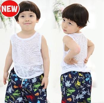 New boy's swimwear round neck zebra striped swimming vest 4 size for boy
