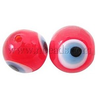 Handmade Lampwork Beads,  Evil Eye,  Round,  Red,  about 8mm in diameter,  hole: 1mm