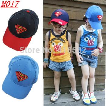 M017--Hot Fahion superman sign kids snapback hats adjustable boys baseball cap  2  colors free shipping