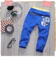2013 spring skull print zipper child clothing baby boys long trousers kz0078