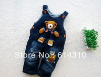 Free shipping 1pc, Baby Bear  Jeans Romper, Baby suspender trousers, Baby Jumper pants,