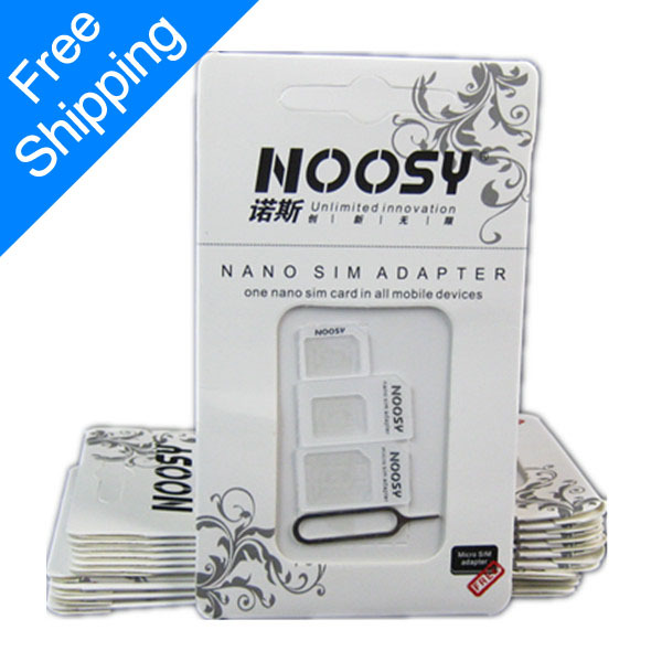 Free Shipping Noosy Nano SIM Adapter For Iphone 5 4 In 1 From Nano to Micro Mini Sim With Retail Box X080(China (Mainland))