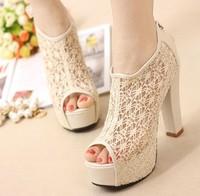 Bohemia thick heel open toe sandals ultra high heels sexy cutout lace fashion platform sandals,Women's high heels