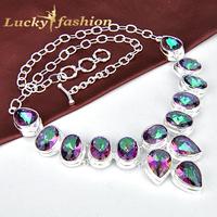 Fashion hot sales women statement jewelry rainbow mystic topaz silver jewelry plated necklace