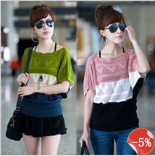 2013 tops love fashion street style stripe short-sleeve loose ladies knitted cardigan pollover women sweater free shipping(China (Mainland))