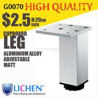 Chinese Factory LICHEN G0070 Quadrangle adjustable Metal Aluminium alloy Cabinet Sofa Furniture leg (4 pieces/lot) 200 height
