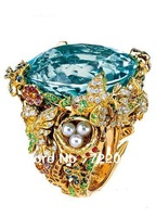 Package mail fashion 925 sterling silver inlaid aquamarine ring female micro pearl with colored stones