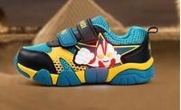 NEW Spring Autumn Children's shoes cartoon ultraman net surface breathable lightweight antiskid dazzle colour flashing LED lamp