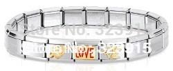 free shipping 2014 newest stainless steel Italy bracelet italian charm bracelet nation wholesale factory price(China (Mainland))