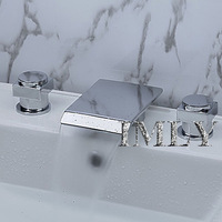 Contemporary Waterfall Bathroom Basin Faucet / washbasin faucet  (Chrome Finish, Widespread)
