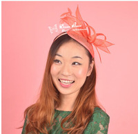 Fashion satin feather fascinators hats for ladies,alomst free shipping