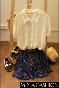 Лето мода 4 цвета плиссированные цветочный шифон симпатичный мини юбка женщины короткие с подкладка включить пояс прямая поставка