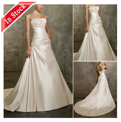 IW001 In Stock Ready Shipping Shot Train Strapless 2013 Cheap Wholesale Wedding Dresses(China (Mainland))