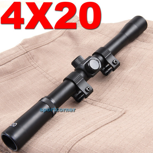 Wholesale -Free Shipping Tactical Basic 4x20 Hunting Rifle Scope Sight with Free Mounts Outdoor Riflescope Rail Optical Aim New(China (Mainland))