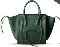 FREE SHIPPING 2014 leather black handbags famous brand designer leather khaki messenger bag rose smiley bag for women