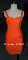 2013 new arrival  High quality HL Orange colour bandage dress grace evening dress spaghetti strap dress form evening dress