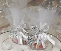 Swan Princess!Free Shipping(48pcs/Lot)European Style Swan Crystal Wedding Favor Box,w/Ribbon Bow,Orangza,Metal Thread w/Bead