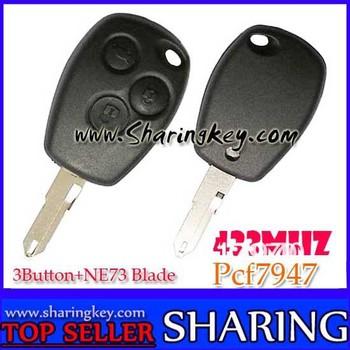 Free Shipping (5pcs/Lot )Renault Megana Laguna Cilo  Scenic  3 Button  Remote Key PCF7947 Chip Ne73 Blade