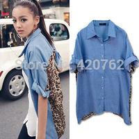 Plus Size 2014 Retro Vintage New Summer Women Button Blouse Shirt Leopard Denim Chiffon Tops Shirt Free Shipping