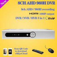 ONVIF DVR 8CH Hybrid NVR HDMI 1080P network video recorder 8ch CCTV DVR 8 Channel full D1 960H AHD home camera surveillance 8ch