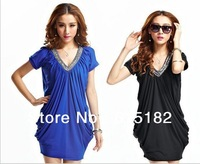 Free Shipping Women's Lady Plus Size Vintage Beading V-neck Casual Bacis Dress D09