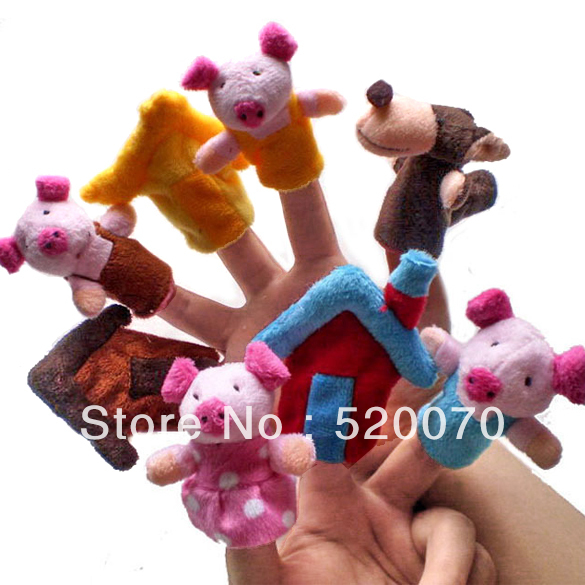 """New 8PCS/Set Little """"The Three Little Pigs"""" Animal Finger Puppet toy Educational Toys Storytelling Doll 8454(China (Mainland))"""