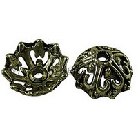 Tibetan Style Bead Caps,  Alloy,  Cadmium Free & Lead Free,  Flower,  Antique Bronze Color,  Size: about 14mm in diameter