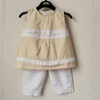baby girl cotton summer clothing set children fashion sleeveless t  shirts +pants 2 pcs suit clothes on sale promotion 2013