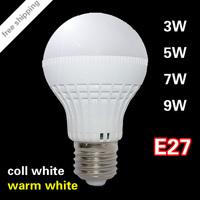 Free shipping led light bulb e27 220v 3w 5w 7w 9w High power Energy Saving Ball Light Bulbs Lamp Lighting Cold white/warm white