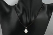 12-14mm large rice pearl & Black leather single necklace, Large pearl pendant necklace, leather necklace jewlery