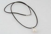 12 14mm large rice pearl Black leather single necklace Large pearl pendant necklace leather necklace jewlery
