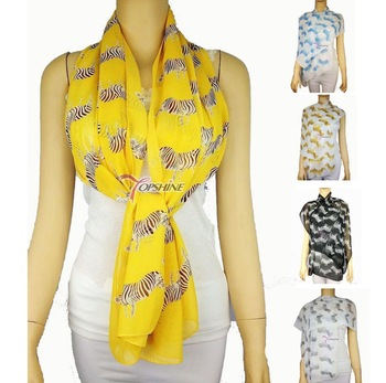Zebra print silk womens' female scarf cape design long scarves SC0192