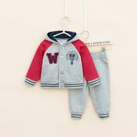 autumn Children's Clothing Sets100% cotton baby Boy's 2piece suit set  sport suit sets tracksuits hoody jackets +pants feeship