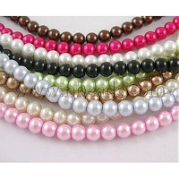 "32"" Pearled Glass Beads Strands,  Round,  Dyed,  Mixed Color,  about 10mm in diameter,  hole: 1.5mm,  about 85 pcs/strand"